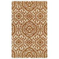 Hand-tufted Runway Pumpkin/ Ivory Damask Wool Rug - 5' x 7'9