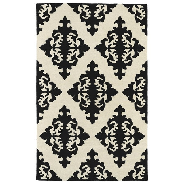 Hand-tufted Runway Black/ Ivory Damask Wool Rug - 5' x 7'9