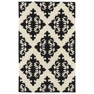 Hand-tufted Runway Black/ Ivory Damask Wool Rug (5' x 7'9)