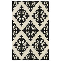 Hand-tufted Runway Black/ Ivory Damask Wool Rug (5' x 7'9)