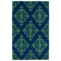 Hand-tufted Runway Navy/ Emerald Damask Wool Rug (5' x 7'9)