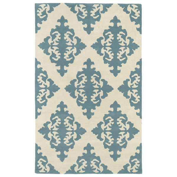 Hand-tufted Runway Mint/ Ivory Damask Wool Rug - 5' x 7'9