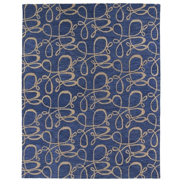 Hand-tufted Zoe Blue Signature Wool Rug - 8' x 10'