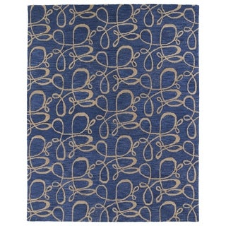 Hand-tufted Zoe Blue Signature Wool Rug (8' x 10')
