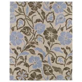 Hand-tufted Zoe Oatmeal Floral Wool Rug (8'x10')