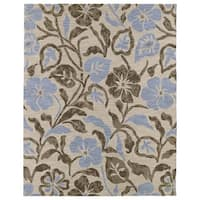 Hand-tufted Zoe Oatmeal Floral Wool Rug - 8' x 10'