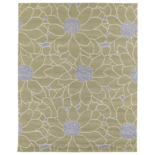 Hand-tufted Zoe Sage Green Floral Wool Rug (8'x10') - 8' x 10'
