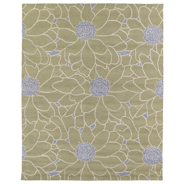 Hand-tufted Zoe Sage Green Floral Wool Rug - 8' x 10'