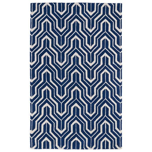 Hand-tufted Cosmopolitan Navy/ Ivory Wool Rug - 9'6 x 13'