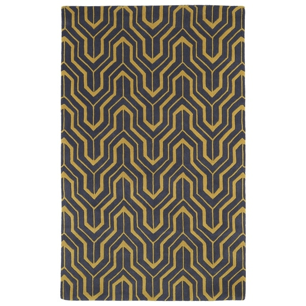Hand-tufted Cosmopolitan Gold/ Charcoal Wool Rug - 8' x 11'
