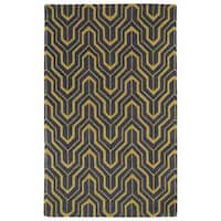 Hand-tufted Cosmopolitan Gold/ Charcoal Wool Rug - 9'6 x 13'