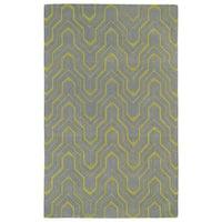 Hand-tufted Cosmopolitan Grey/ Wasabi Wool Rug - 8' x 11'