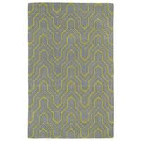 Hand-tufted Cosmopolitan Grey/ Wasabi Wool Rug - 9'6 x 13'