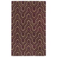 Hand-tufted Cosmopolitan Plum/ Camel Wool Rug - 9'6 x 13'