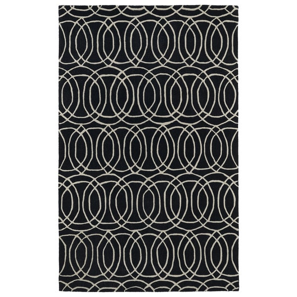 Hand-tufted Cosmopolitan Circles Black/ Ivory Wool Rug - 8' x 11'