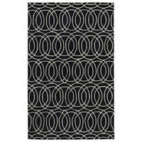 Hand-tufted Cosmopolitan Circles Black/ Ivory Wool Rug - 8' x 11'