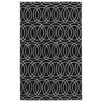 Hand-tufted Cosmopolitan Circles Black/ Ivory Wool Rug - 9'6 x 13'