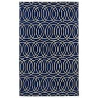 Hand-tufted Cosmopolitan Circles Navy/ Ivory Wool Rug - 8' x 11'