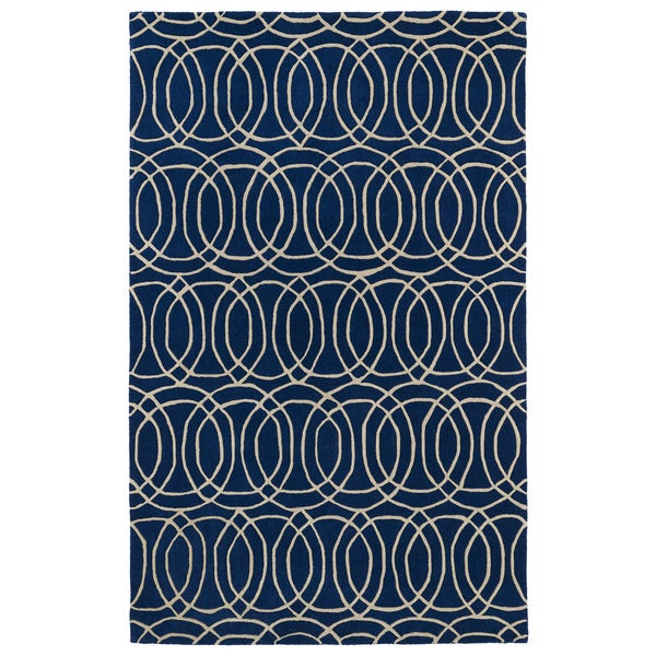 Hand-tufted Cosmopolitan Circles Navy/ Ivory Wool Rug - 9'6 x 13'