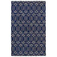 Hand-tufted Cosmopolitan Circles Navy/ Ivory Wool Rug - 9'6 x 13'