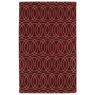 Hand-tufted Cosmopolitan Circles Red/ Camel Wool Rug (8' x 11') - 8' x 11'