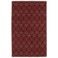 Hand-tufted Cosmopolitan Circles Red/ Camel Wool Rug - 8' x 11'