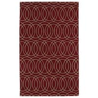 Hand-tufted Cosmopolitan Circles Red/ Camel Wool Rug - 9'6 x 13'