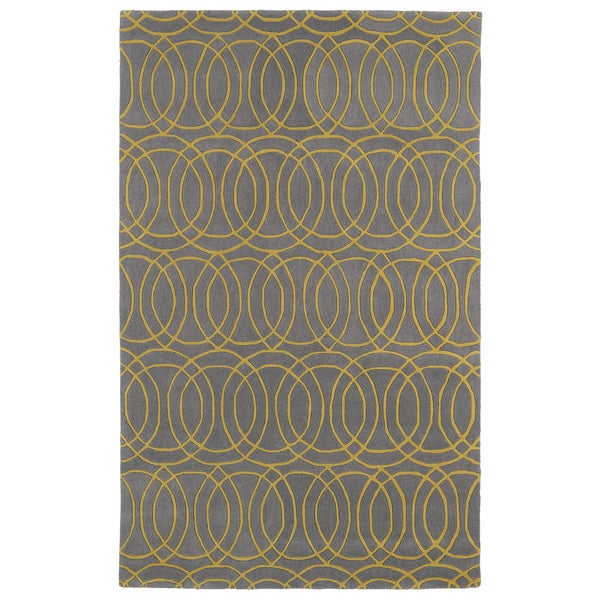 Hand-tufted Cosmopolitan Circles Yellow/ Light Brown Wool Rug - 9'6 x 13'