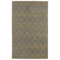 Hand-tufted Cosmopolitan Circles Yellow/ Light Brown Wool Rug - 9'6 x 13'