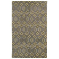 Hand-tufted Cosmopolitan Circles Yellow/ Light Brown Wool Rug - 8' x 11'