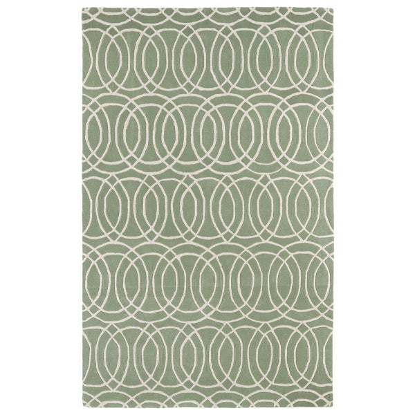 Hand-tufted Cosmopolitan Circles Mint/ Ivory Wool Rug - 9'6 x 13'