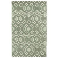 Hand-tufted Cosmopolitan Circles Mint/ Ivory Wool Rug - 8' x 11'