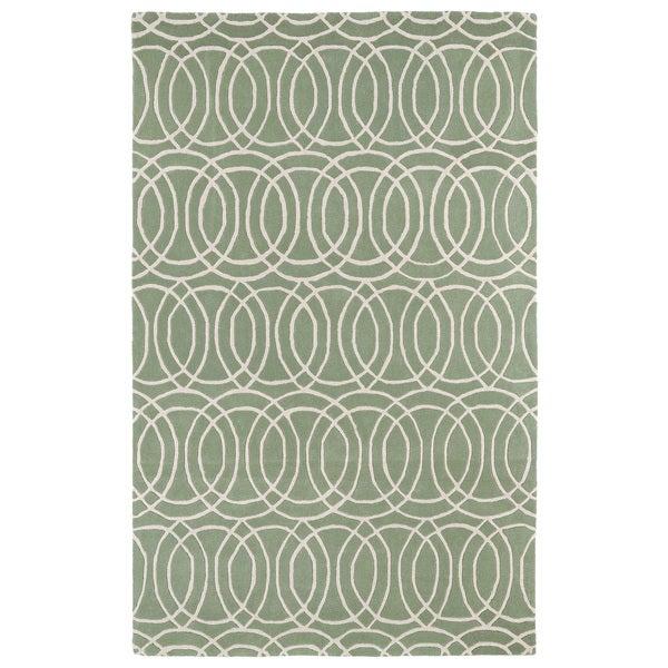 Hand-tufted Cosmopolitan Circles Mint/ Ivory Wool Rug - 8' x 11'