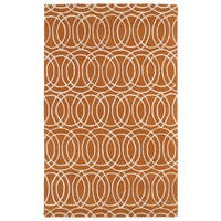 "Hand-tufted Cosmopolitan Circles Orange/ Ivory Wool Rug - 9'6"" x 13'"