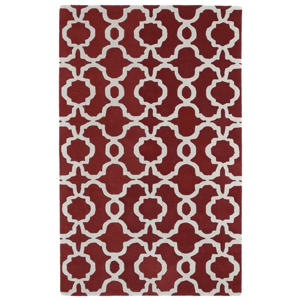 Hand-tufted Cosmopolitan Trellis Red/ Ivory Wool Rug - 8' x 11'