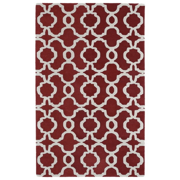 Hand-tufted Cosmopolitan Trellis Red/ Ivory Wool Rug - 9'6 x 13'
