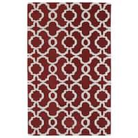 Hand-tufted Cosmopolitan Trellis Red/ Ivory Wool Rug - 9'6 x 13'