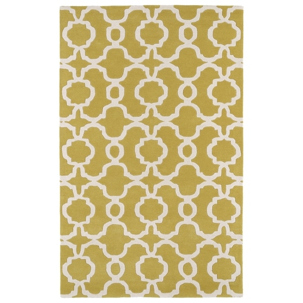 Hand-tufted Cosmopolitan Trellis Yellow/ Ivory Wool Rug - 8' x 11'