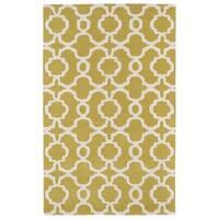 Hand-tufted Cosmopolitan Trellis Yellow/ Ivory Wool Rug - 8' x 11'