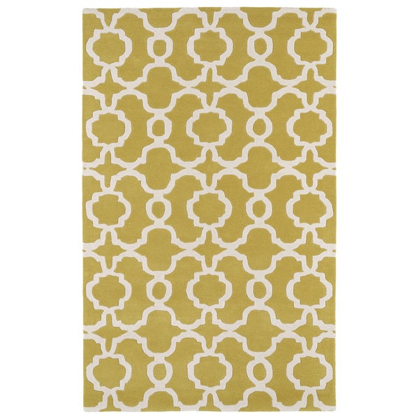 Hand-tufted Cosmopolitan Trellis Yellow/ Ivory Wool Rug - 9'6 x 13'