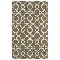 Hand-tufted Cosmopolitan Trellis Brown/ Ivory Wool Rug - 9'6 x 13'