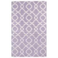 Hand-tufted Cosmopolitan Trellis Lilac/ Ivory Wool Rug - 8' x 11'