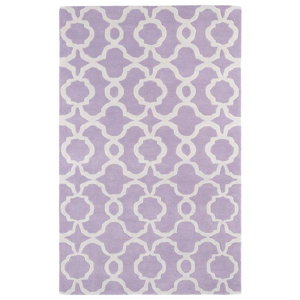 Hand-tufted Cosmopolitan Trellis Lilac/ Ivory Wool Rug - 9'6 x 13'