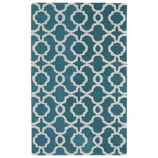 Hand-tufted Cosmopolitan Trellis Teal/ Ivory Wool Rug (8' x 11') - 8' x 11'