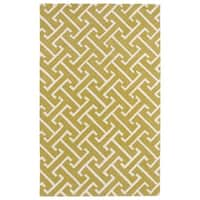 Hand-tufted Cosmopolitan Yellow/ Ivory Wool Rug - 8' x 11'