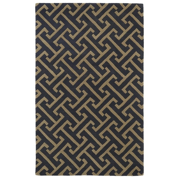 Hand-tufted Cosmopolitan Charcoal/ Brown Wool Rug - 8' x 11'