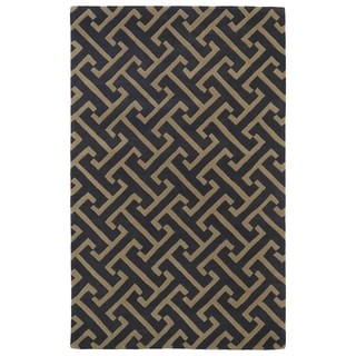 Hand-tufted Cosmopolitan Charcoal/ Brown Wool Rug (8' x 11')