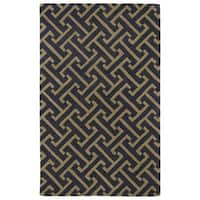 Hand-tufted Cosmopolitan Charcoal/ Brown Wool Rug - 9'6 x 13'