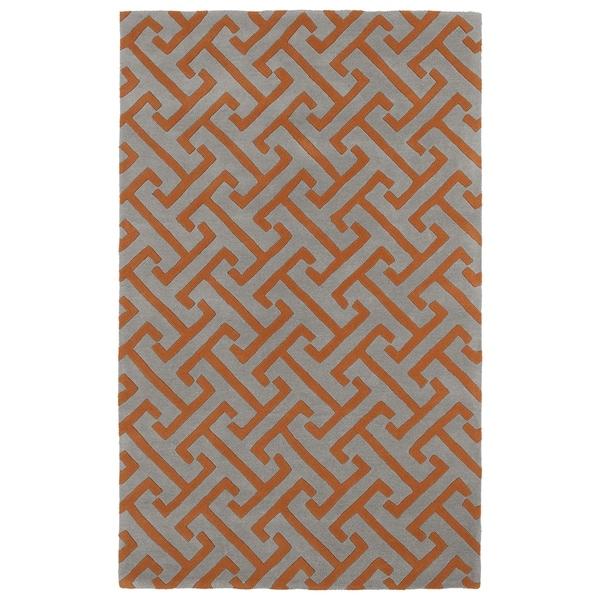 Hand-tufted Cosmopolitan Orange/ Grey Wool Rug (8' x 11')