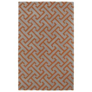 Hand-tufted Cosmopolitan Orange/ Grey Wool Rug (8' x 11') - 8' x 11'